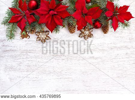 Christmas Tree With Christmas Balls, Christmas Gingerbread, Flowers Of Red Poinsettia And Cones Spru