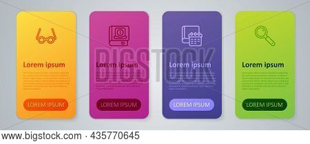 Set Line Daily Paper Notepad, Magnifying Glass, Glasses And User Manual. Business Infographic Templa