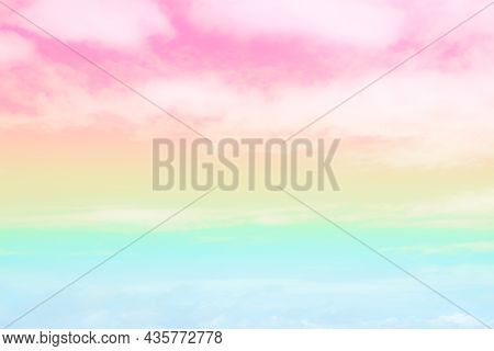 Soft Focus Cloud Sky Rainbow Pastel With Colorful Pink, Yellow, Blue Fantasy Paint Cloudscape. Gradi