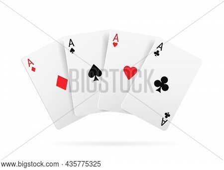 Casino Game Playing Cards, Black And Red Suits Isolated Realistic 3d Set. Vector Clubs And Spaces, H