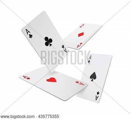 Flying Aces Playing Cards Isolated Four Poker Game Objects, Realistic 3d Gambling Games Symbols Set.