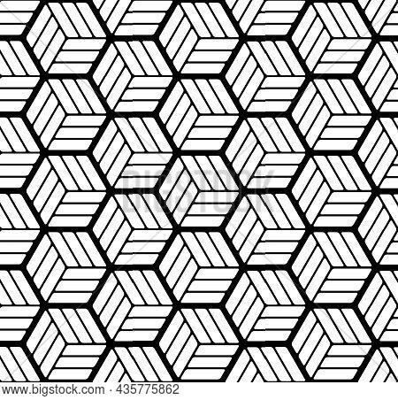 Seamless Geometric Op Art Pattern. 3d Illusion Effect. Vector Art.