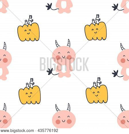 Halloween Seamless Pattern With Devils And Pumpkins. Perfect For T-shirt, Textile And Prints. Hand D