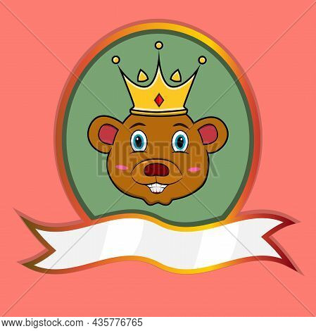 Cute Animal Head With Crown On Frame Label. Bear Head. Perfect For Cartoon, Logo, Icon And Character