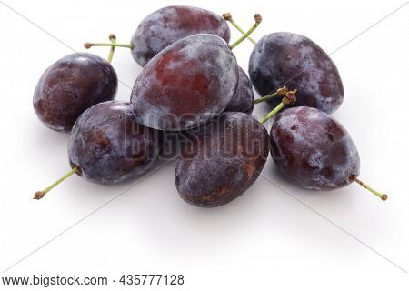 fresh prune plums isolated on white background
