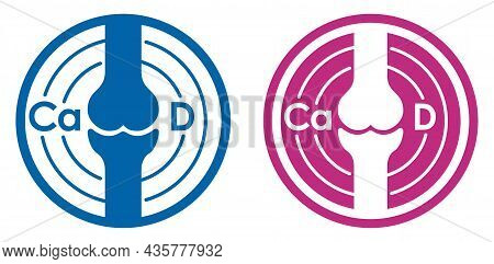 Calcium And Vitamin D3 As Nutrition Supplement For Bone Health. Isolated Flat Vector Icon