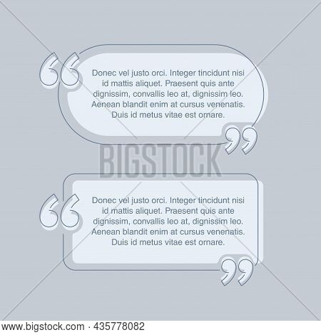 Quotes Template - Flat Decorative Thin Line Text Block. Creative Quotation Marks Andcopy Place With