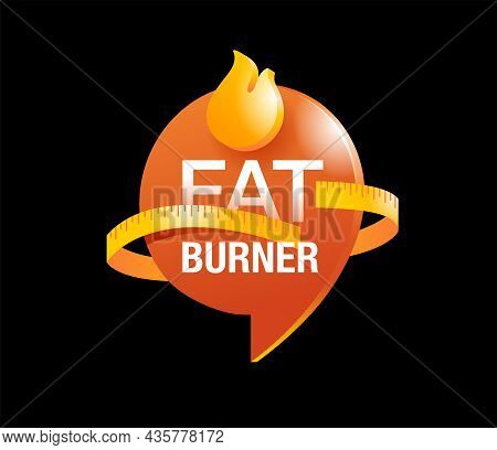 Fat Burner Capsules Icon On Black Background - Food Supplement For Weight Loss And Increasing Energy