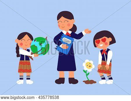 Biology And Geography. Kids With Teacher, College Or Preschool Children In Uniform. Girls Love Plane