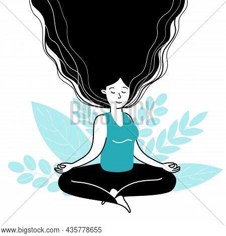 Female Meditating. Meditation Balance, Girl Meditate In Happy Emotions. Harmony Lifestyle, Mental Mi