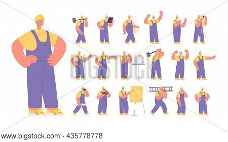 Man Builder Character. Industry Construction Worker, Isolated Architect. Busy Man In Helmet, Industr