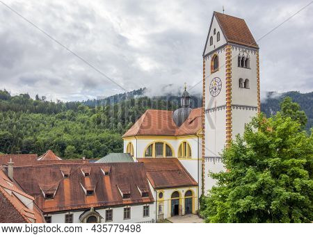 St Mang Abbey In Fuessen, A Town In The Ostallgaeu District In Bavaria, Germany