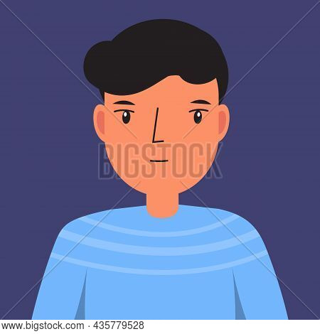 Indifferent Man. Male With Uninterested Face. Unconcerned Human Face. Vector Illustration For People
