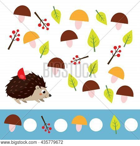 Mathematics Educational Children Game. Counting Objects. Study Numbers, Addition. Help Hedgehog Coun
