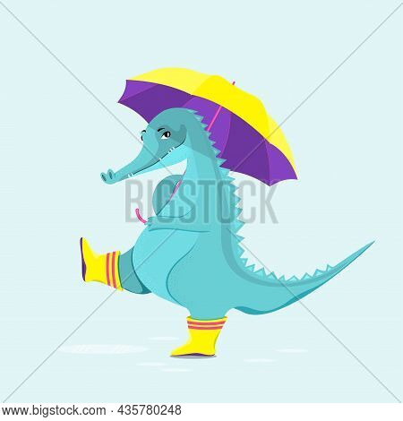 Cute Crocodile In Rubber Boots Walks Through Puddles With An Umbrella. Flat Vector Illustration.