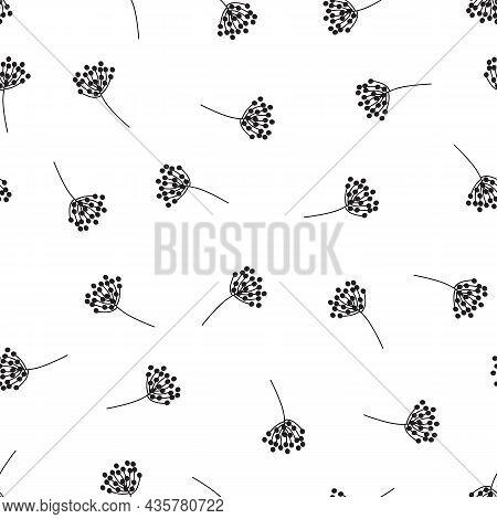 Botanical Seamless Vector Pattern Monochrome. Black Flower Silhouettes On White Background Wild Gras