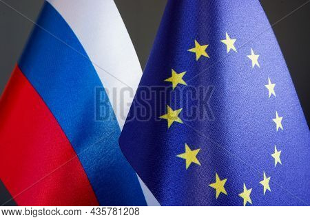 Flags Of The European Union Eu And The Russian Federation Russia.