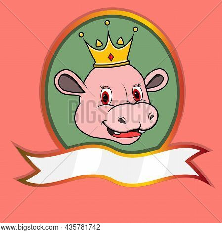 Cute Animal Head With Crown On Frame Label. Hippopotamus Head. Perfect For Cartoon, Logo, Icon And C