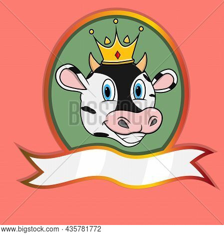 Cute Animal Head With Crown On Frame Label. Cow Head. Perfect For Cartoon, Logo, Icon And Character