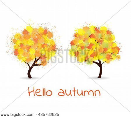 Autumn Stylized Trees Forming By Blots Watercolor. Colorful Paint Splash Trees With Different Abstra