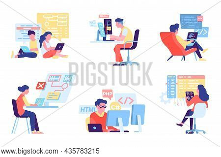 Programmers People. Developers At Workplace. Html And Php Coding. It Technologies Activity. Apps And