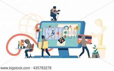 Hackers Group Attack. Cyber Thieves Characters Stealing Data. Burglars Cracking Banking Passwords An