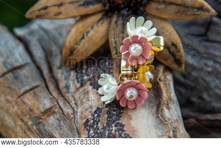 Jewelry Fashion Photography. Earrings Fashion Photography. Earrings Presented On Old Wooden Backgrou