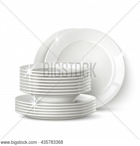 Realistic White Plates Stack. Clean Shining Cookware. Porcelain Dinnerware. Washed Crockery Pile. Is