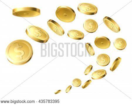 Flying Golden Coins. Realistic Gold Money, Flow Dollar Cents, Winning Casino Jackpot, Cash Yellow Mo