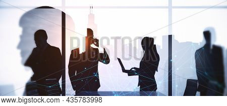 Businesspeople Working Together In Abstract Bright Wide Office. Teamwork And Finance Concept. Double