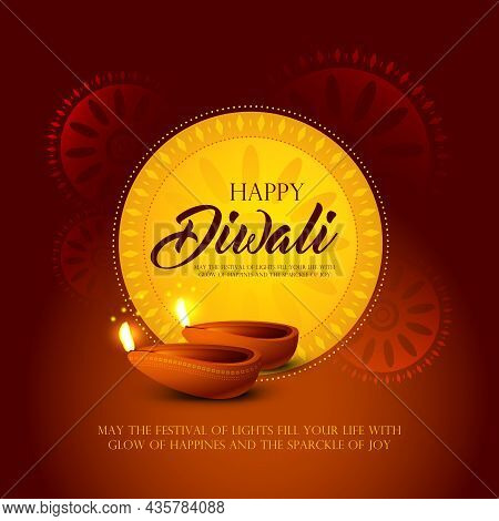 Happy Diwali, Indian Religious Festival Greeting With Illuminated Oil Lamps On And Mandala Decoratio