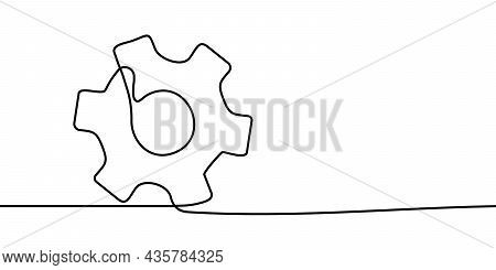 Cogwheel Continuous Line Drawing. One Line Drawing Background. Continuous Line Drawing Of Gear. Vect
