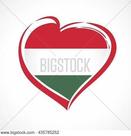 Love Hungary, Heart Emblem In National Flag Colors. Hungarian Flag In Heart Shape For Magyar Foundin