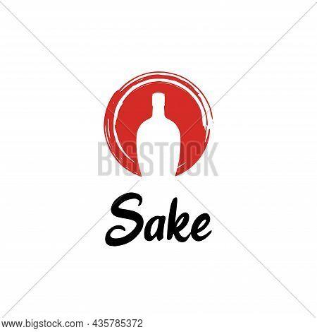 Rustic Sunset Japanese Sake Bottle Oriental Japan Beverage Symbol Logo Design Inspiration
