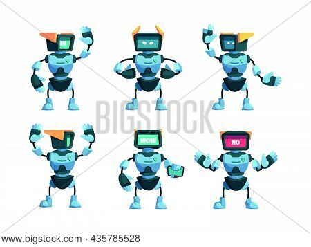 Robot Collection. Funny Robotic Androids In Action Poses Game Characters Standing Jumping Futuristic