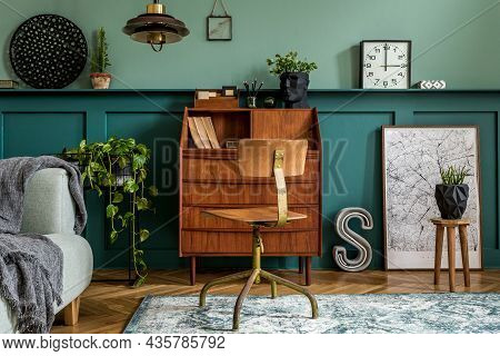 Stylish And Vintage Interior Design Of Open Space With Wooden Retro Cabinet, Design Chair, Sofa, Map