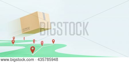 Abstract Flying Cardboard Box Above Road With Location Pins On Wide White Background With Mockup Pla