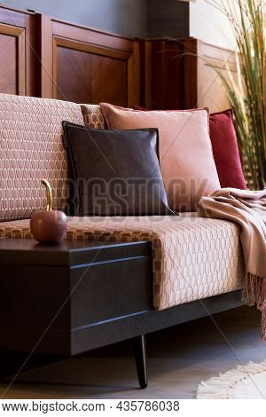 Stylish Interior Of Living Room With Design Pink Velvet Sofa, Velur Pillows,plaid, Decorations And E