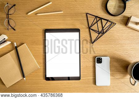 Stylish Flat Lay Business Composition On The Wooden Desk With Mock Up Tablet, Cacti, Notes, Photo Ca