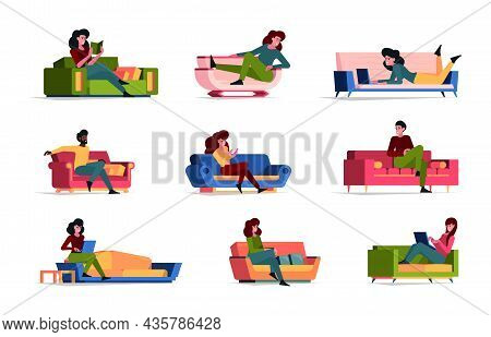 Lazy People. Relaxing Persons Rest On Couch Sleeping Characters Garish Vector Colored Flat Furniture