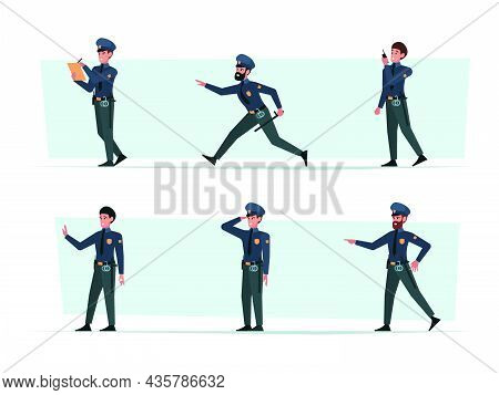 Police Officers. Murders And Police Workers With Professional Stuff Weapons In Hands Robbery Garish