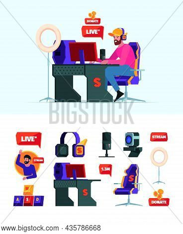 Streamers. Gamepad Keyboard Computer Gadgets For Bloggers Gamers Professional Streamers In Social Ne