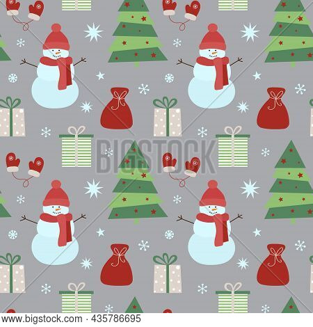Christmas Seamless Pattern With Snowman, Gifts, Christmas Tree And Snowflakes. Can Be Used For Fabri