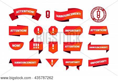 Attention Banners. Announcement Red Stamps For Priority Ads Sales Notices Badges For Different Messa