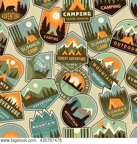 Camp Badges Pattern. Exploring Logo For Scouts Outdoor Adventure Forest And Mountains Recent Vector