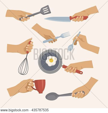 Kitchen Tools In Hands. Objects For Preparing Food In Kitchen Forks Spoons Plates Pots Recent Vector