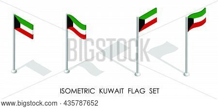 Isometric Flag Of Kuwait In Static Position And In Motion On Flagpole. 3d Vector