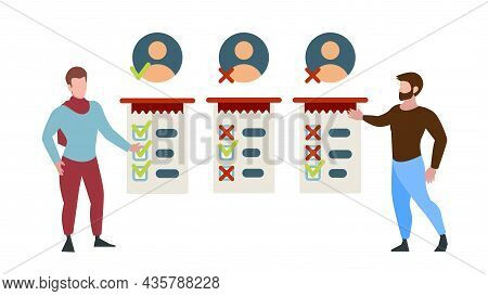 Employee Hiring. Hr Managers Looking Candidate, Workers Cv. Men Choose Person, Vector Concept