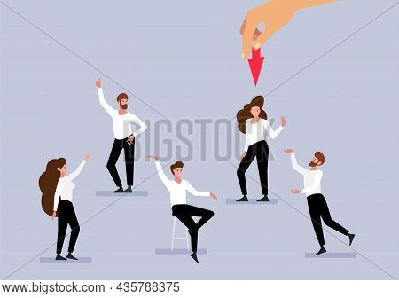 Recruitment Concept. Employees, Happy People Find Job. Hr Management, Men Women Professional Workers