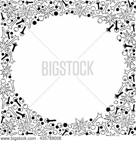 Vector Frame Made Of Star Anise, Carnation, Pepper In Doodle Style. Background , Border, Decor With